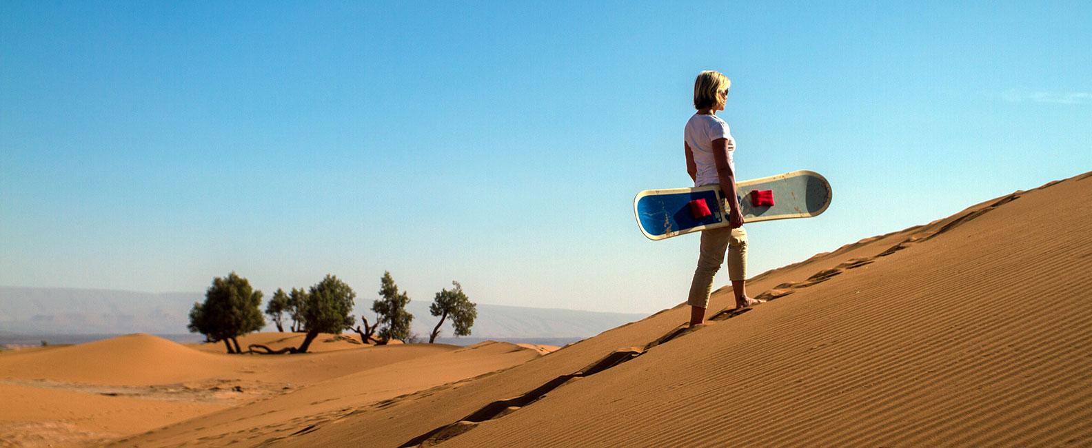 Sandboarding - Sandsurfing desert Morocco